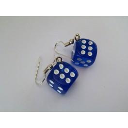 Náušnice Čiré hrací kostky - tmavě modrá